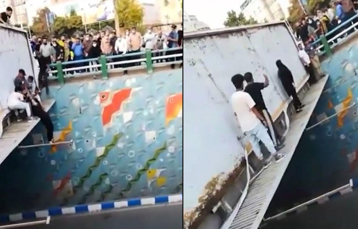 لحظه خودکشی زن جوان از روی پل | فیلم +18